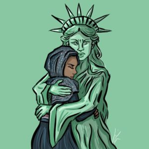 Jamie Hu, Statue of Liberty hugging Muslim woman